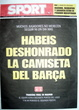 Portada diario Sport del día 8/5/2008
