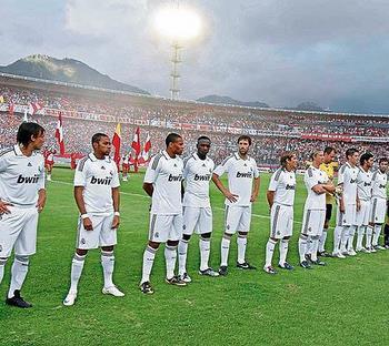 Foto del Real Madrid en partido contra el Santa Fe