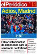 Portada diario Periodico de Catalunya del día 14/12/2008