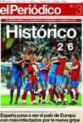 Portada diario Periodico de Catalunya del día 3/5/2009