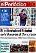 Portada diario Periodico de Catalunya del día 30/11/2009