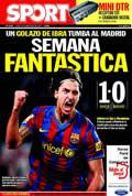 Portada diario Sport del día 30/11/2009