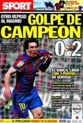 Portada diario Sport del día 11/4/2010