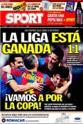 Portada diario Sport del día 17/4/2011