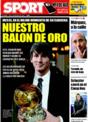 Portada diario Sport del 1 de Diciembre de 2008