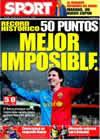 Portada diario Sport del 18 de Enero de 2009