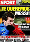 Portada diario Sport del 25 de Enero de 2009