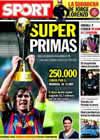 Portada diario Sport del 16 de Noviembre de 2009