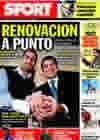 Portada diario Sport del 15 de Enero de 2010