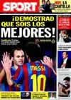 Portada diario Sport del 20 de Febrero de 2010
