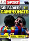 Portada diario Sport del 2 de Mayo de 2010