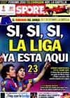Portada diario Sport del 9 de Mayo de 2010