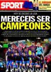 Portada diario Sport del 16 de Mayo de 2010