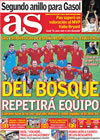 Portada diario AS del 19 de Junio de 2010