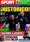 Portada diario Sport del 4 de Julio de 2010
