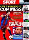 Portada diario Sport del 14 de Agosto de 2010