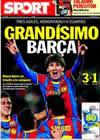 Portada diario Sport del 9 de Marzo de 2011