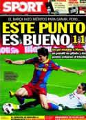 Portada diario Sport del 14 de Marzo de 2011