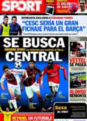 Portada diario Sport del 28 de Marzo de 2011