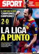 Portada diario Sport del 9 de Mayo de 2011