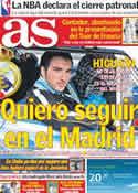 Portada diario AS del 1 de Julio de 2011
