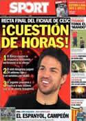 Portada diario Sport del 10 de Agosto de 2011