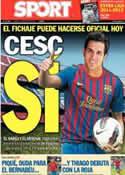 Portada diario Sport del 11 de Agosto de 2011