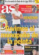 Portada diario AS del 16 de Agosto de 2011