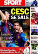 Portada diario Sport del 4 de Septiembre de 2011