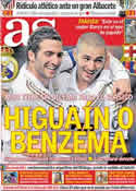 Portada diario AS del 9 de Diciembre de 2011