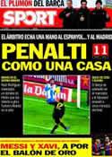 Portada diario Sport del 9 de Enero de 2012