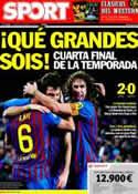 Portada diario Sport del 9 de Febrero de 2012