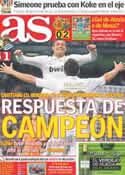 Portada diario AS del 25 de Marzo de 2012