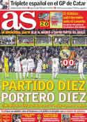 Portada diario AS del 9 de Abril de 2012