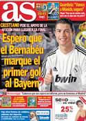 Portada diario AS del 24 de Abril de 2012