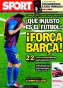Portada diario Sport del 25 de Abril de 2012