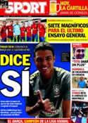 Portada diario Sport del 3 de Junio de 2012