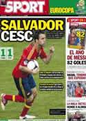Portada diario Sport del 11 de Junio de 2012