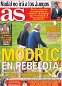 Portada diario AS del 20 de Julio de 2012