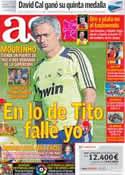 Portada diario AS del 9 de Agosto de 2012