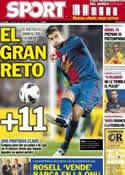 Portada diario Sport del 28 de Septiembre de 2012