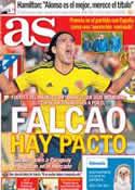 Portada diario AS del 14 de Octubre de 2012