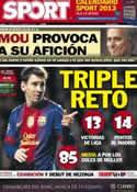 Portada diario Sport del 1 de Diciembre de 2012