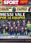 Portada diario Sport del 3 de Diciembre de 2012