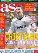 Portada diario AS del 8 de Diciembre de 2012