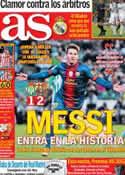 Portada diario AS del 10 de Diciembre de 2012