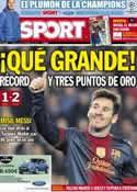 Portada diario Sport del 10 de Diciembre de 2012