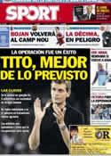 Portada diario Sport del 21 de Diciembre de 2012
