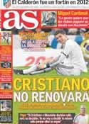 Portada diario AS del 27 de Diciembre de 2012