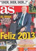 Portada diario AS del 31 de Diciembre de 2012